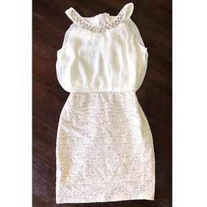 Enfocus cream lace and beaded dress size 6